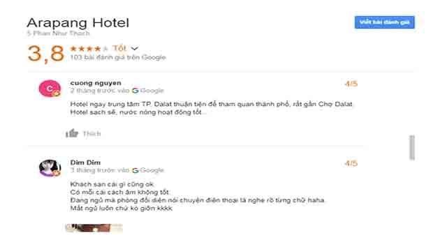 Đánh Giá Khách Sạn Arapang