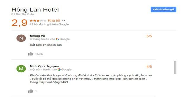 Đánh Giá Khách Sạn Hồng Lan