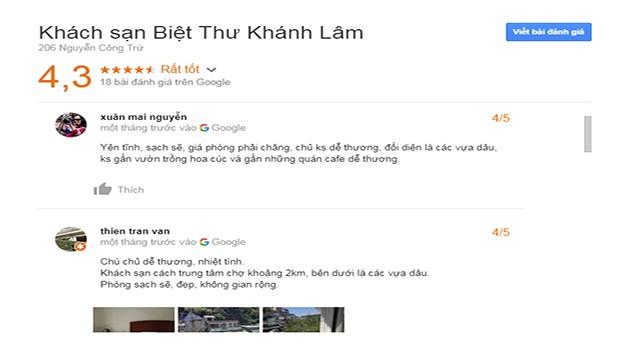Đánh Giá Khách Sạn Khánh Lâm Villa