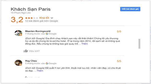 Đánh Giá Khách Sạn Paris