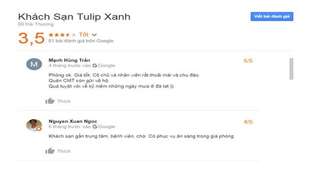 Đánh Giá Khách Sạn Tulip Xanh