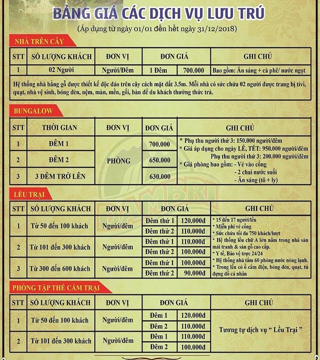 Bảng giá lưu trú tại Thác Dambri