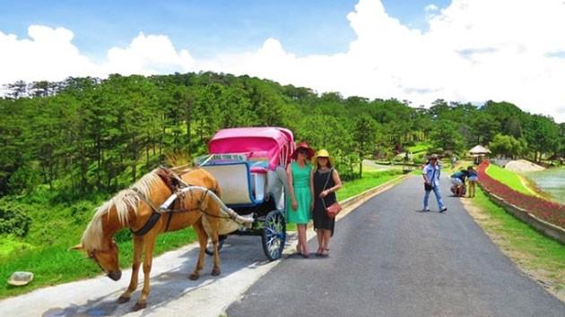 Du khách dạo chơi bằng xe ngựa trong Thung lũng Tình yêu.