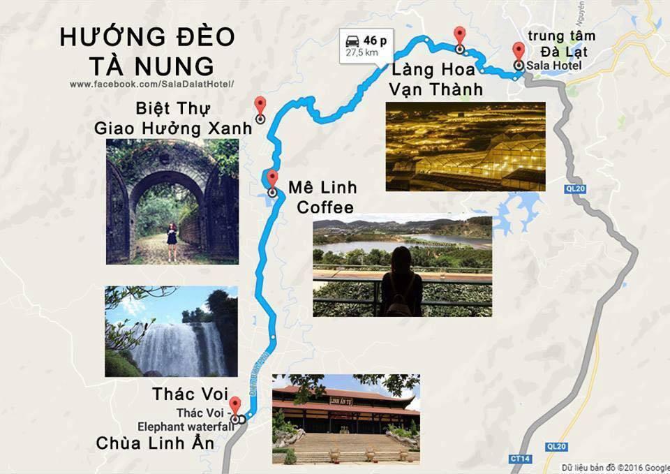 Bản đồ Đà Lạt Hướng đèo Tà Nung
