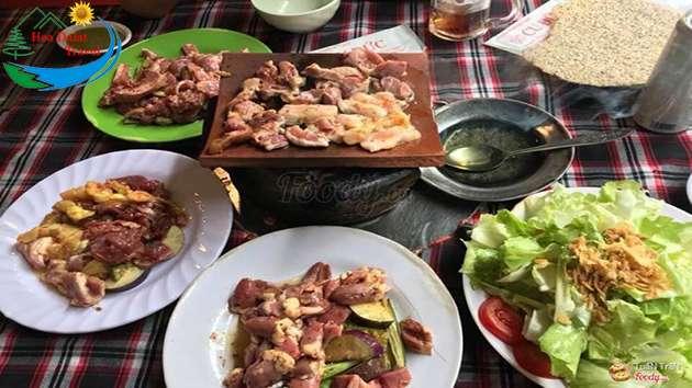 Các món nướng tại quán nướng ngói Cu Đức