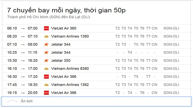 Thông tin chuyến bay sài Gòn đến Đà Lạt