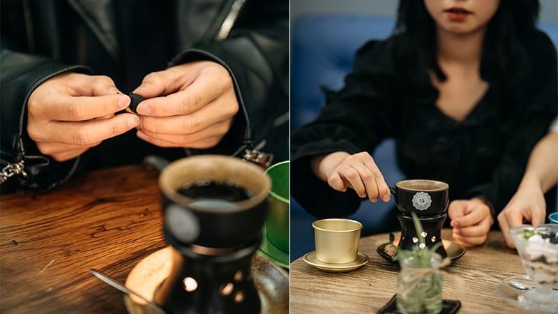 Thưởng thức cafe Tỏi đen